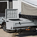 Clipper's Super Sliding Storage box enables full, easy accessibility even when the camper is set up. (1285SST).